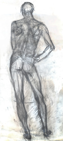Hand drawn illustration of a man in a standing position, original artistic sketch over white, back view