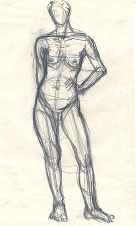 Bergeben Sie Gezogene Illustration Eines Menschlichen Weiblichen ...
