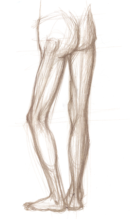 Hand drawn illustrations of a human male legs, back view, original artistic sketches over paper Stock Photo