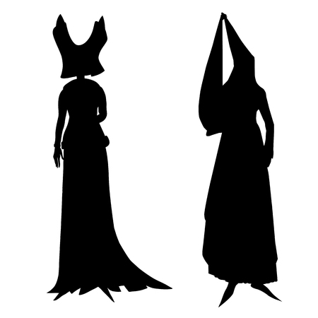 fictional: Fictional outfits inspired by medieval costumes, hand drawn cartoon illustrations isolated on white Illustration