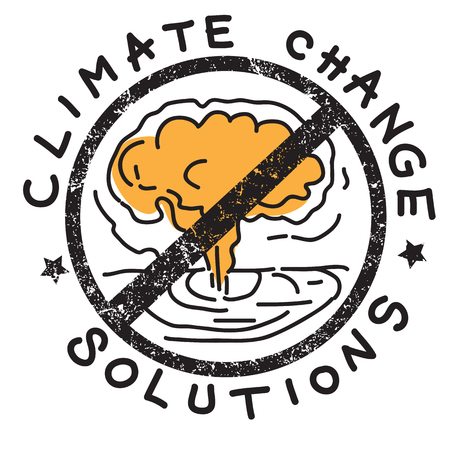 Climate change solution illustration, hand drawn sticker isolated on white, ban atomic bomb Illustration