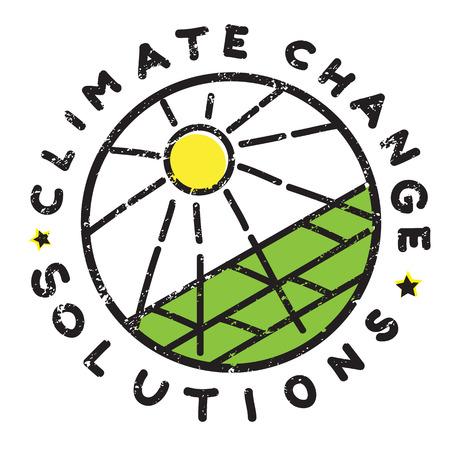 Illustration de solution de changement climatique, autocollant dessiné main isolé sur blanc, message d'énergie solaire vert Banque d'images - 84564594
