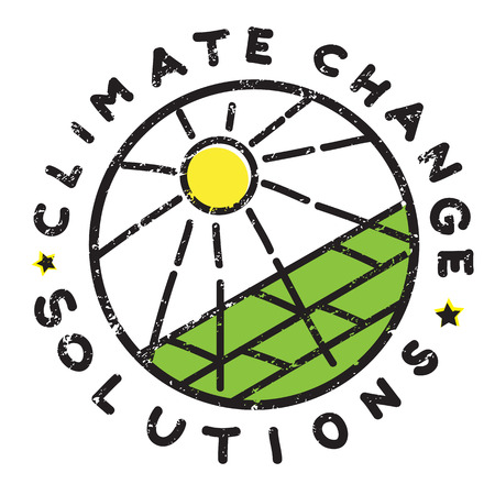 Climate change solution illustration, hand drawn sticker isolated on white, solar green energy message