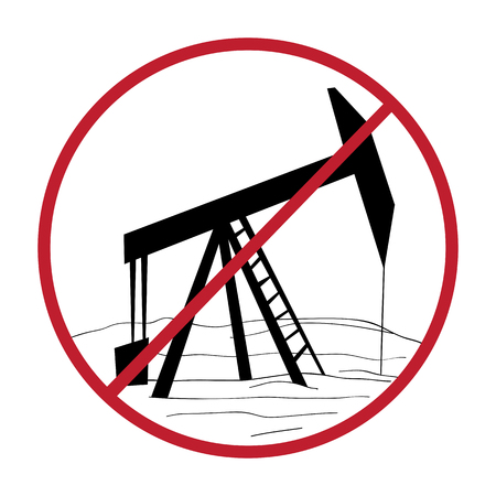 activism: Climate change solution illustration, hand drawn sticker isolated on white, ban oil rig message Illustration