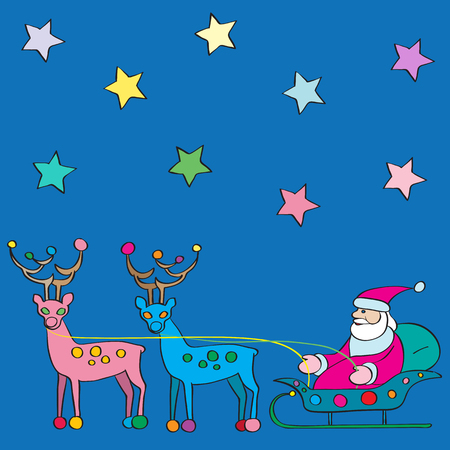 Hand drawn multicolored illustration of Santa Claus in a sleigh with reindeer under the starry sky