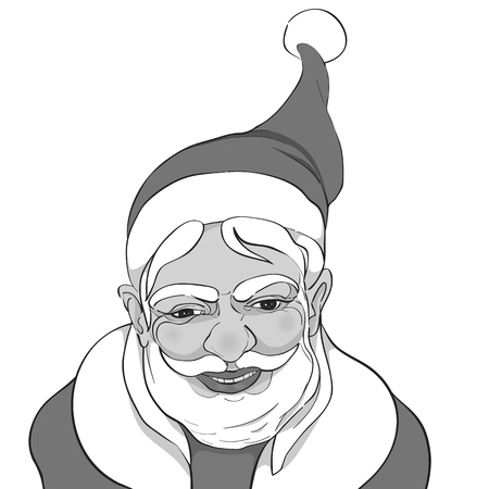 Serene Santa Claus hand drawn illustration isolated on white, comics style black and white greetings card for Christmas