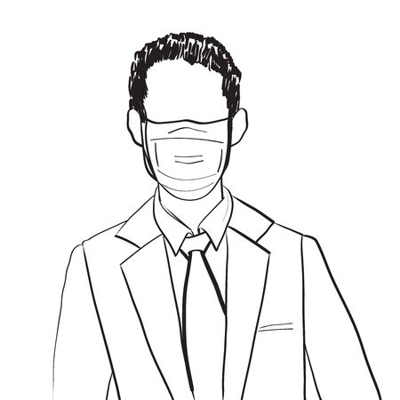 Hand drawn artistic illustration of an anonymous avatar of a young man with medical mask and office suit, businessman doodle isolated on white