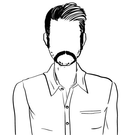 Hand drawn artistic illustration of an anonymous avatar of a young man with moustache in an informal shirt, web profile doodle isolated on white