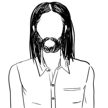 Hand drawn artistic illustration of an anonymous avatar of a young man with long hair and beard in an informal shirt, web profile doodle isolated on white