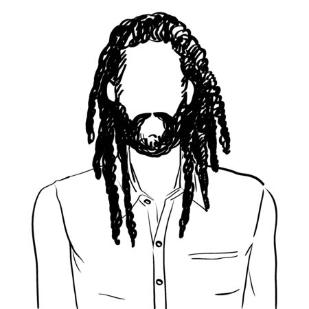 Hand drawn artistic illustration of an anonymous avatar of a rastafarian man with dreadlocks and beard in an informal shirt, web profile doodle isolated on white Illustration