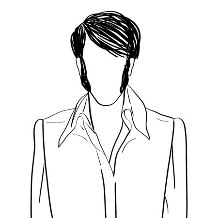 Hand drawn artistic illustration of an anonymous avatar of a rock and roll man with fancy hairslyle in a stage shirt, web profile doodle isolated on white