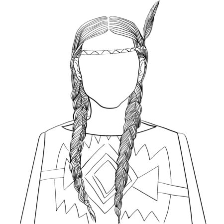 Hand drawn artistic illustration of an anonymous avatar of an indian american young woman with braids in a traditional outfit, web profile doodle isolated on white