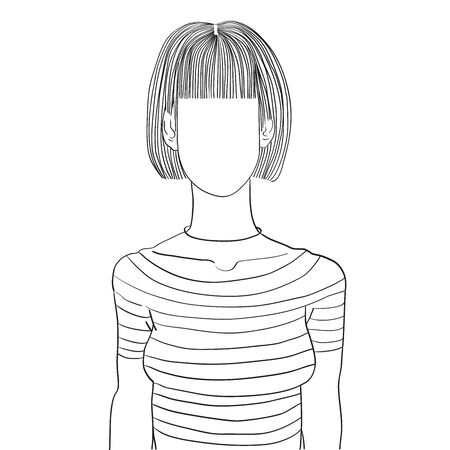 Hand drawn artistic illustration of an anonymous avatar of a young woman with bob coiffure and bang in a casual shirt, web profile doodle isolated on white