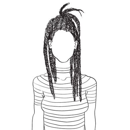 Hand drawn artistic sketch illustration of an anonymous avatar of a young woman with dreadlocks in a t-shirt, web profile doodle isolated on white Illustration