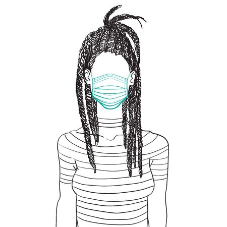 Hand drawn artistic sketch illustration of an anonymous avatar of a young woman with dreadlocks in a t-shirt, wearing a medical mask, web profile doodle isolated on white
