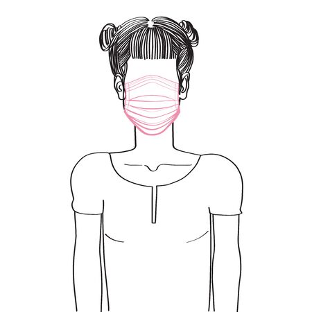 Hand drawn artistic sketch illustration of an anonymous avatar of a young woman with two buns on top of her head, in a shirt, wearing a medical mask, web profile doodle isolated on white