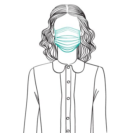 Hand drawn sketch illustration of an anonymous avatar of a young woman with vintage hairstyle and outfit, wearing a medical mask, web profile doodle isolated on white