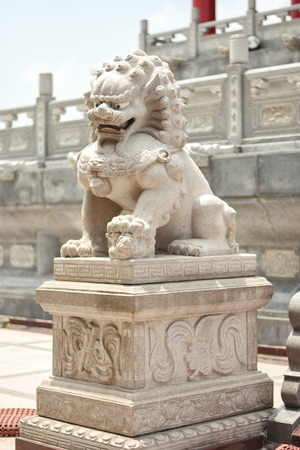 ancient lion: Lion Chinese Statue in the Temple , Bangkok , Thailand