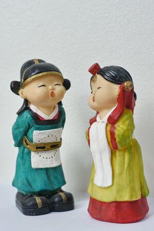 A Couple Korean Doll Statue , Bangkok , Thailand