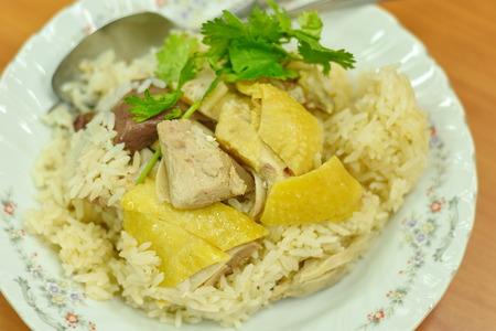 plato del buen comer: Chicken Rice Foto de archivo