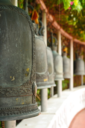 sanskrit: Beautiful Bell in the Temple , Bangkok , Thailand Stock Photo