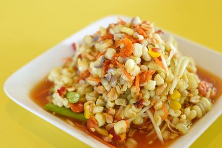 green papaya salad: Spicy Corn Salad Stock Photo