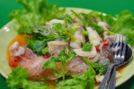 Mung Bean Noodle Spicy Salad Stock Photo