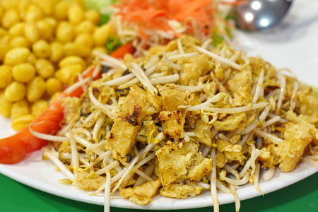 bean sprouts: Fried Fish Maw Stock Photo