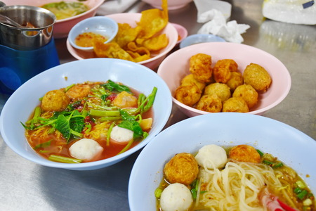 Noodles Fish Ball Thai Style Stock Photo