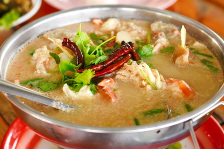 River prawn spicy soup Stock Photo