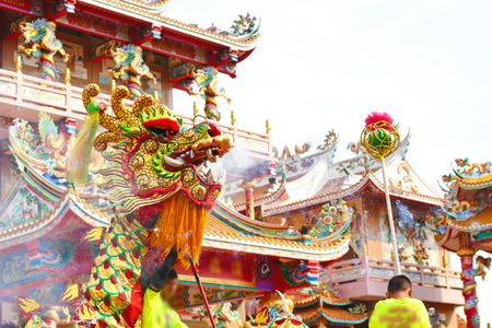 Chinese dragon and lion dance Stock fotó