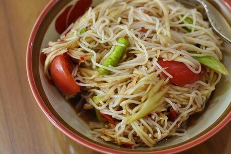 spicy papaya salad thai food