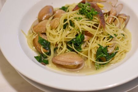 spaghetti with Thai-style sauce with clam Banco de Imagens