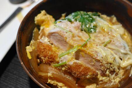 Japanese fried pork top on food