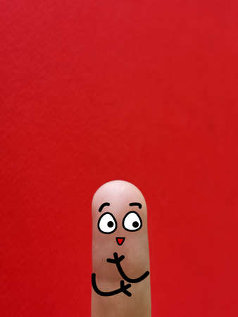 One finger is decorated as one person. He is happy.
