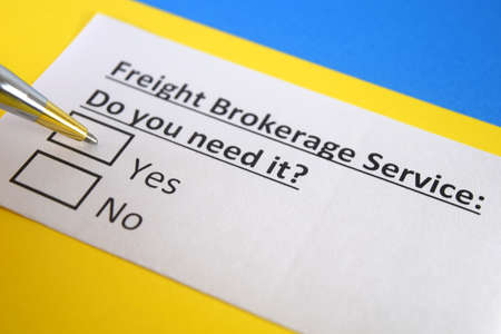 One person is answering question about freight brokerage service.