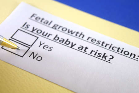 One person is answering question about fetal growth restriction. 스톡 콘텐츠