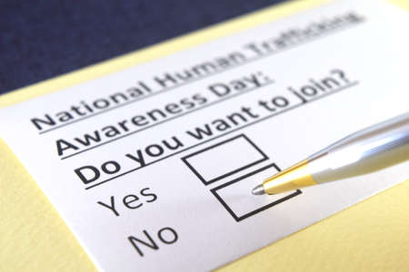 One person is answering question about National Human Trafficking Awareness Day.