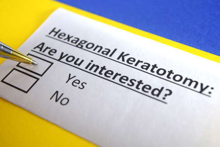 One person is answering question about hexagonal keratotomy.