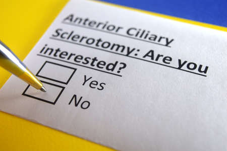 One person is answering question about anterior ciliary sclerotomy.