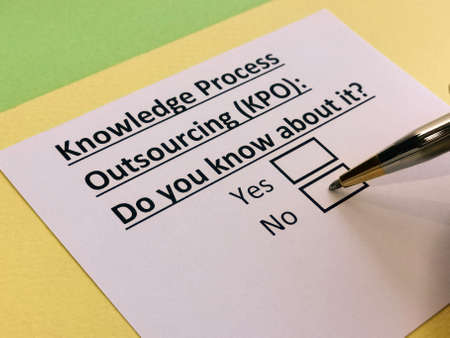 A person is answering question about knowledge process outsourcing.