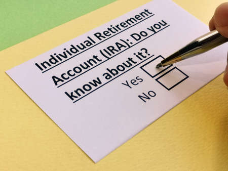 A person is answering question about individual retirement account (IRA).