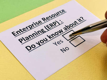 A person is answering question about enterprise resource planning (ERP).