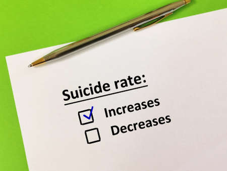 One person is answering question about pandemic. He thinks suicidal rate is increasing.