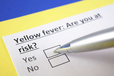 One person is answering question about , yellow, fever
