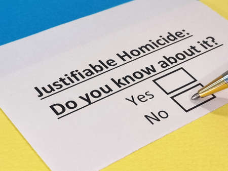 One person is answering question about justifiable homicide.