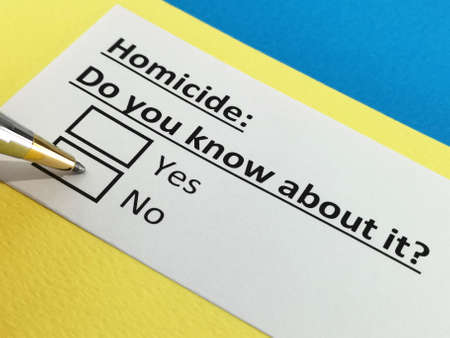 One person is answering question about homicide.