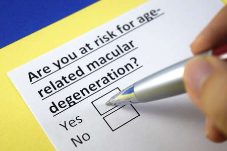 One person is answering question about risk for age related macular degeneration.