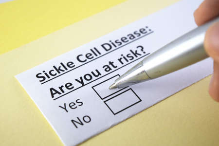 One person is answering question about sickle cell disease. Standard-Bild