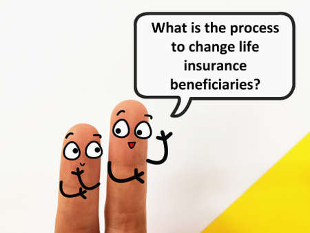 Two fingers are decorated as two person. One of them is asking what is the process to change life insurance beneficiaries.